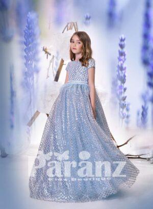 Criss-cross glitz bodice long gown dress with glitz net woven all over