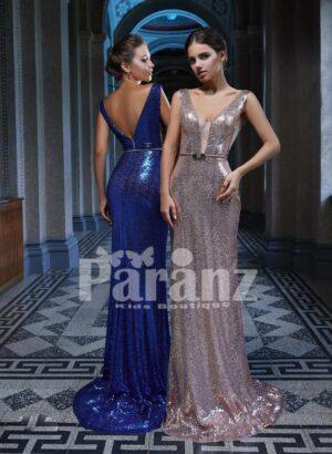 Elegant long glitz satin celebrity inspired mermaid evening gown with stylish deep v neck bodice side view
