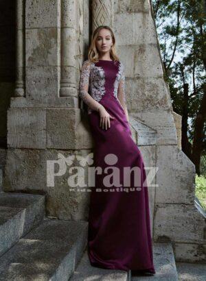 Elegant mermaid styled long trail satin gown with appliquéd side works