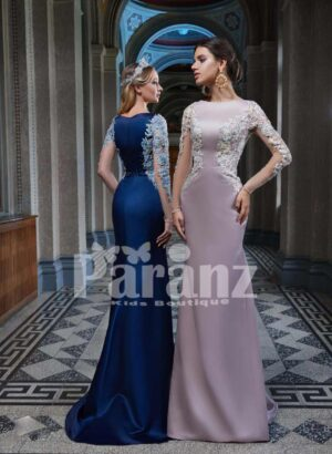 Elegant mermaid styled long trail satin gown with appliquéd side works side view