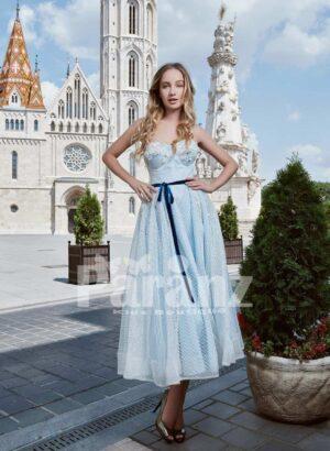 Elegant off-shoulder tulle party gown with designer bodice