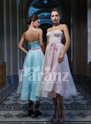 Elegant off-shoulder tulle party gown with designer bodice side view