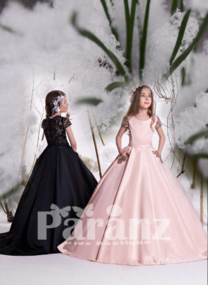 Elegant one color rich satin gown with some sequin works on sleeves and pockets