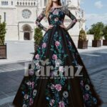 Elegant organza tulle party gown with major flower appliqués all over