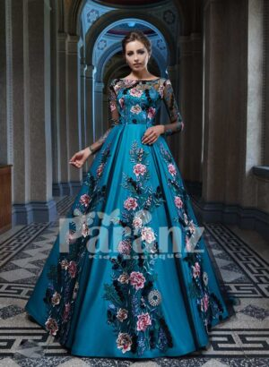 Elegant organza tulle party gown with major flower appliqués all over blue