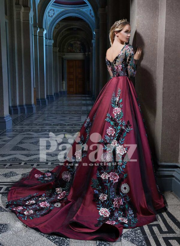 Elegant organza tulle party gown with major flower appliqués all over red