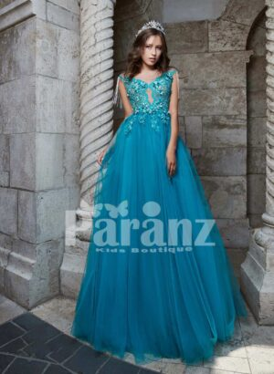 Elegant soft and smooth luxury tulle gown with floral appliquéd and pearl studded bodice