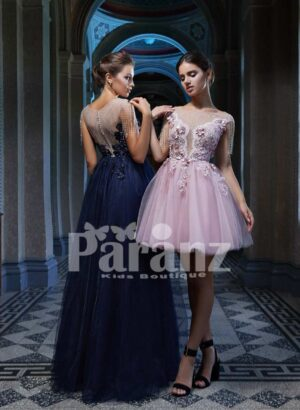 Elegant soft and smooth luxury tulle gown with floral appliquéd and pearl studded bodice side view