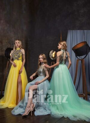 Elegant tulle skirt gown with sequin-rhinestone work royal bodice and sleeves side view