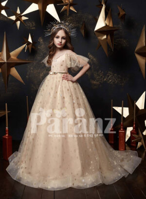 Fairy ivory long trail tulle gown with wing sleeves