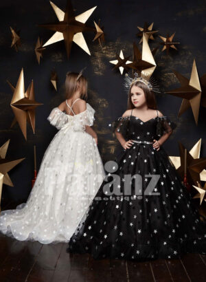 Fairy ivory long trail tulle gown with wing sleeves black and white