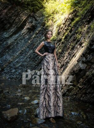 Glitz bodice long party gown with appliquéd tulle skirt