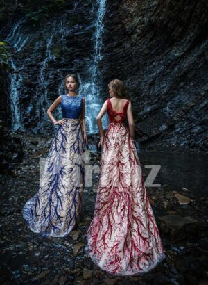 Glitz bodice long party gown with appliquéd tulle skirt side view