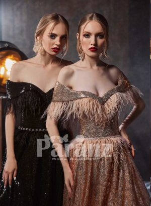 Glitz long trail evening gown with stylish feathers on bodice and mid-belt