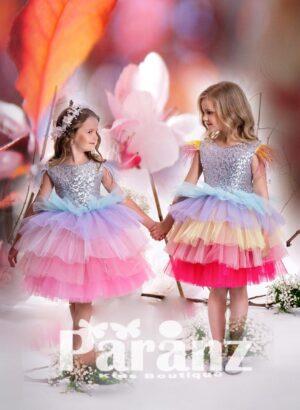 Glitz sequin bodice with feather cap sleeve tea length multi-layer tulle skirt dress