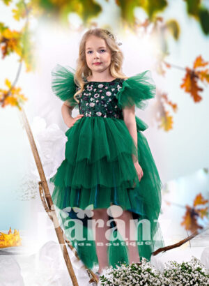 High-low multi-layer tulle skirt dress with sequin bodice