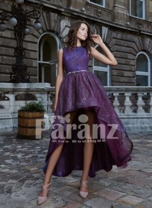 High-low multi-layer tulle skirt party dress with mid-belt and deep neck cut back bodice