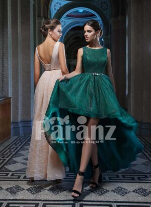 High-low multi-layer tulle skirt party dress with mid-belt and deep neck cut back bodice side view