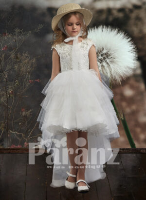 High-low tulle skirt dress with threaded appliquéd bodice for girls