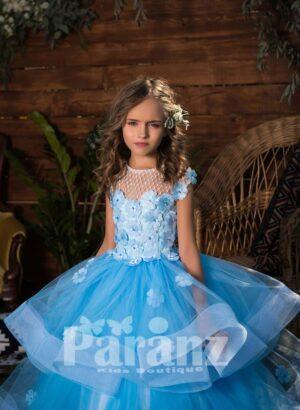 High volume 3 layered tulle princess skirt dress with flower appliquéd bodice