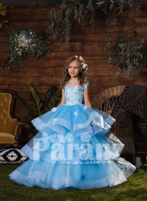 High volume 3 layered tulle princess skirt dress with flower appliquéd bodice CLOSE VIEW