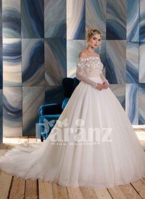 High volume long trail wedding tulle gown flower-rhinestone appliquéd bodice