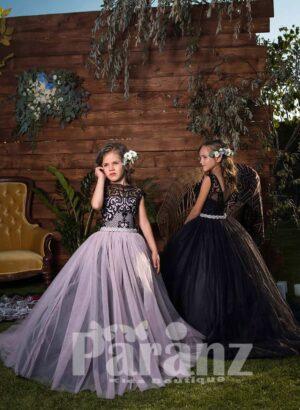 High volume soft tulle skirt dress with elegant floral appliquéd bodice