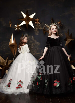 High volume two layers tulle skirt dress with floral appliqué works