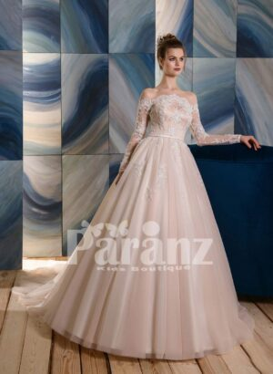 Ivory-white long trail wedding tulle gown with white flower appliquéd bodice and sleeves