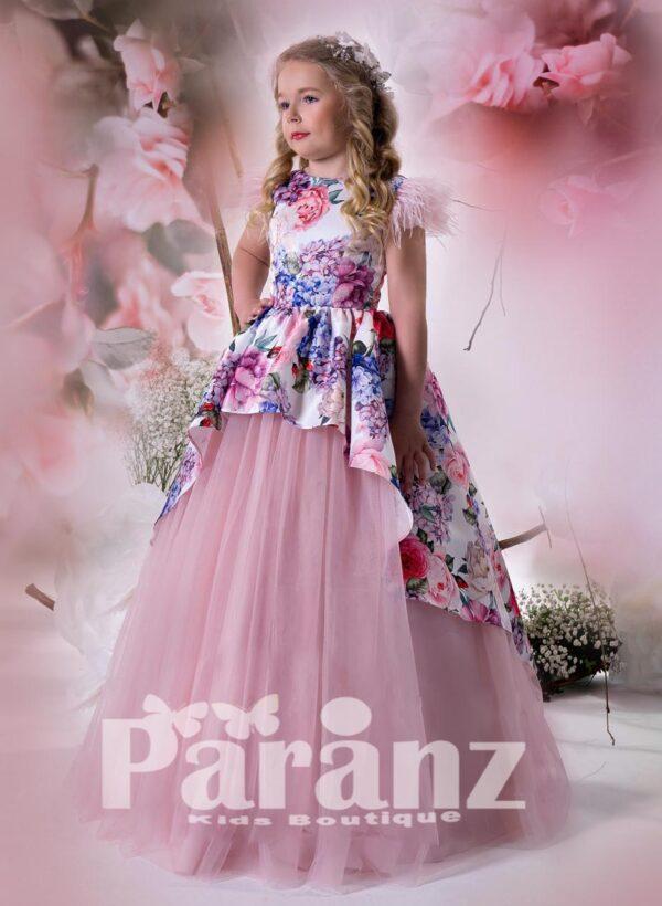 Jungle print satin overskirt with long tulle skirt dress