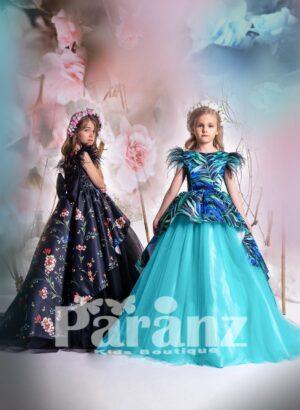 Jungle print satin overskirt with long tulle skirt dress for girls