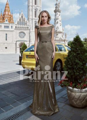 LONG TRAIL MERMAID STYLED GLITZ EVENING GOWN WITH STYLISH CRISS-CROSS BACK BODICE