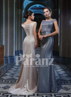 LONG TRAIL MERMAID STYLED GLITZ EVENING GOWN WITH STYLISH CRISS-CROSS BACK BODICE SIDE VIEW