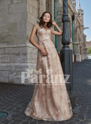 Long luxury satin gown with soft tulle cover and mid-belt