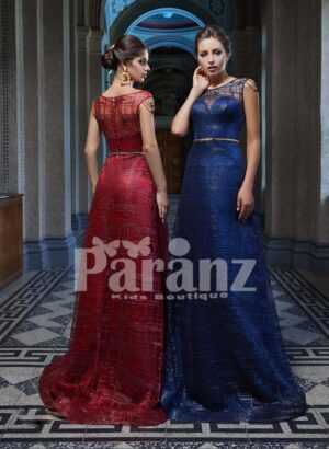 Long luxury satin gown with soft tulle cover and mid-belt side view