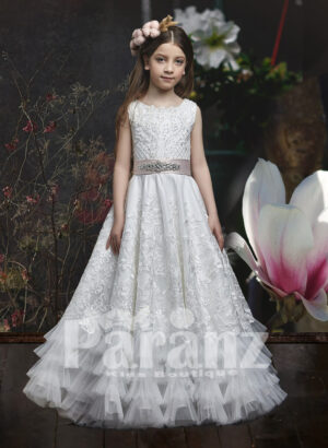 Long satin gown with ruffle hem, floral appliqué skirt and sequin-pearl-net designed bodice