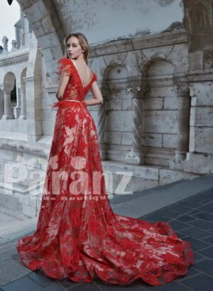 Long trail all over red rosette soft and smooth satin-tulle gown for women