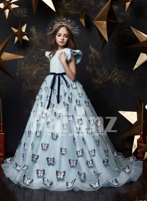 Long trail butterfly appliquéd satin tulle gown with flattered cap sleeve