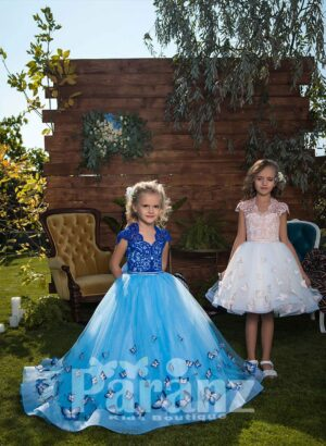 Long trail butterfly appliquéd tulle skirt dress with elegant bodice