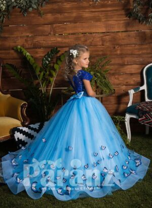 Long trail butterfly appliquéd tulle skirt dress with elegant bodice side view