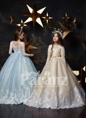 Long trail glitz gown with beautiful back bow