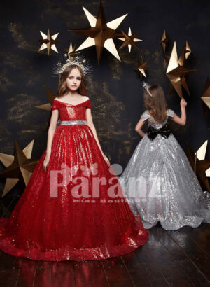 Long trail glitz gown with beautiful back bow Red and white