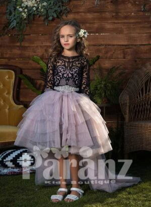 Long trail high-low multi-layer tulle skirt dress with full sleeve appliquéd bodice