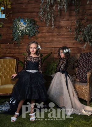 Long trail high-low multi-layer tulle skirt dress with full sleeve appliquéd bodice side view