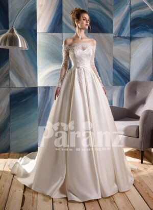 Long trail luxury satin gown with lace and appliquéd bodice and sleeves