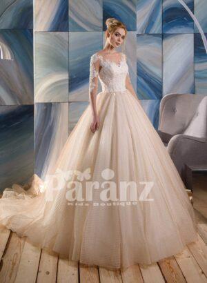 Long trail net woven organza tulle wedding gown with appliquéd elegant bodice
