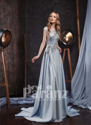 Long trail pleated rich satin gown with soft appliquéd bodice