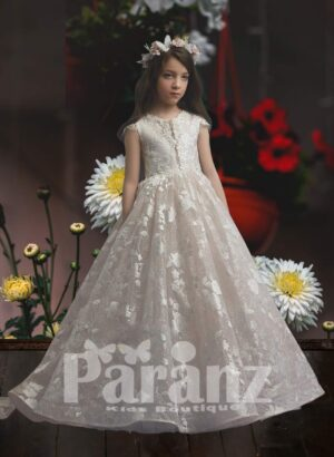 Long trail royal gown with glitz flower appliquéd tulle skirt and bodice