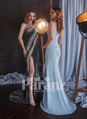 Long trail side slit glitz evening gown with stylish feather work