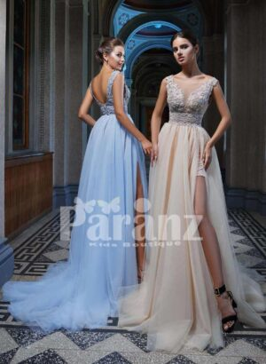 Long trail side slit soft tulle gown with elegantly appliquéd bodice side view